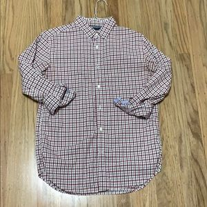 Long sleeve button down burgundy and grey medium